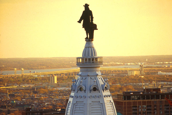 William Penn stands on top of City Hall